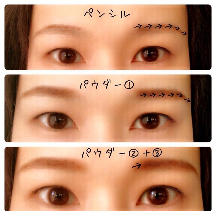 ペンシルで眉の上のラインを書きます。 パウダーの①のカラーをブラシにとり、ペンシルラインをぼかすように入れます。 眉頭は②と③のカラーを混ぜてぼかします。 最後に赤色を小指に取り、全体にポンポンと薄く重ねます。