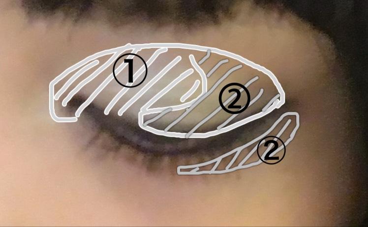 ①のハイライトを画像のように目頭から半分程度広げます。  ②のグレーを黒目の上あたりから目尻に、下まぶた3分の2くらいまで塗ります。