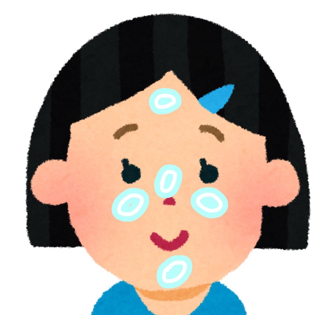 ・ベース ①ブルーの下地を中心に置き外に伸ばす。 ②ツヤが欲しいので少し中心に広げる。 ③5点置きで外に向かって伸ばす(スポンジ使用) ④フェイスパウダーを鼻周りや眉毛など、よれやすい所にはたいてブラシで余分な粉を落とします。 (厚塗り感がなくなります)