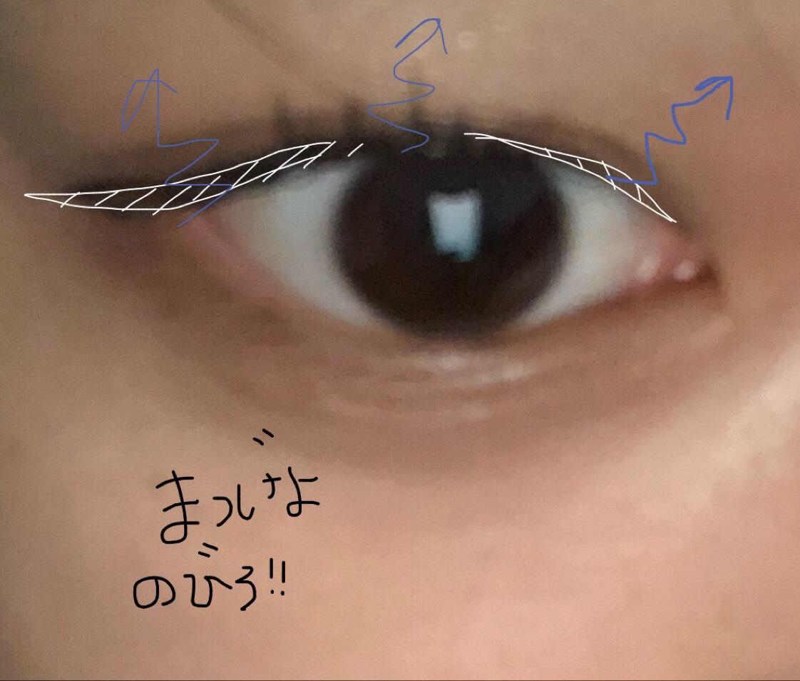 ・アイライン 自分の目の形に合わせて 少し目尻をはねさせてます。  ・マスカラ ギザギザにぬって、ボリューム出しています