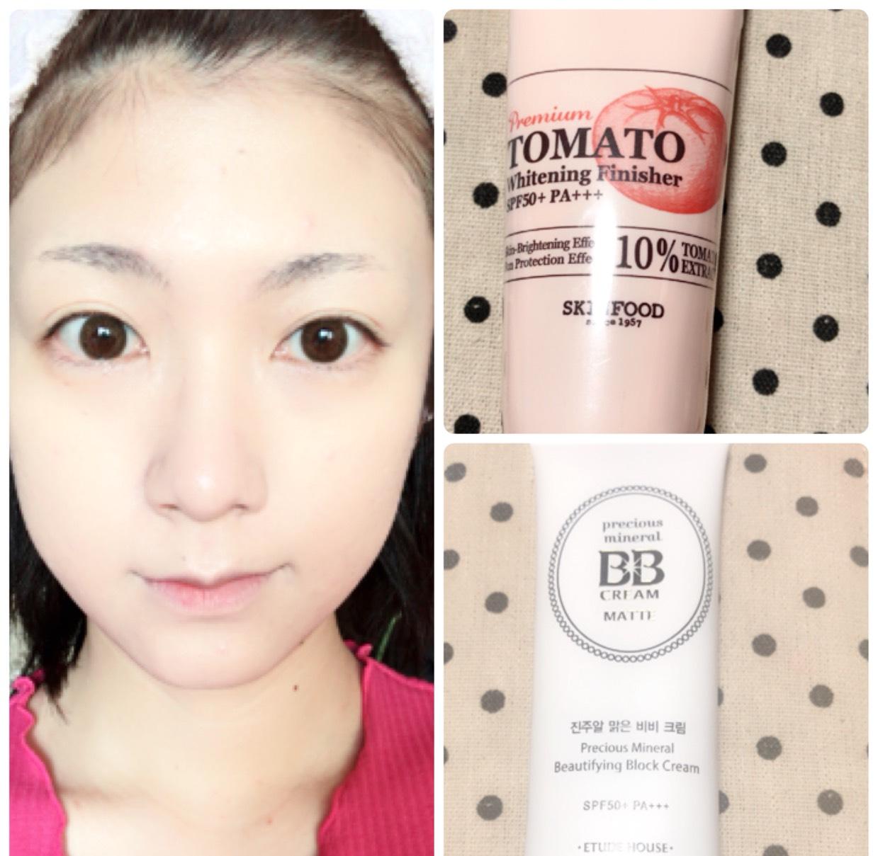 導入液→化粧水→ジェルで保湿したあとSKINFOODのトマトの下地、BBクリームを塗ります。