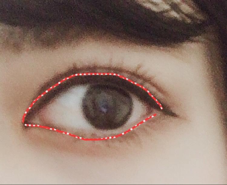 ④を目のキワ全体に塗ります。