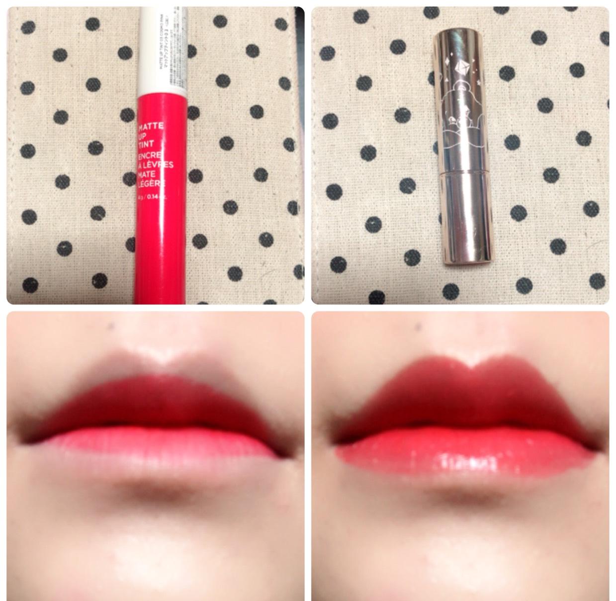 ザフェイスショップのマットタイプのリップティントを内側に塗り、その上から唇全体にオペラのリップティント(RED)を塗ります。