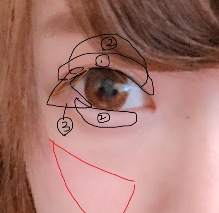 番号のモノをのせて、目尻のみアイラインを引き、丸顔なのでチークは三角形にのせます