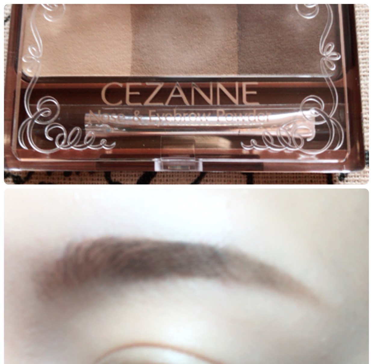 眉毛の足りないところをパウダーで書き足し、眉マスカラを塗ります。