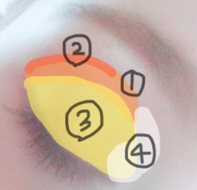 アイシャドウ ①薄めブラウンをブラシでひろげて、二重幅に影をつけてくっきりさせます。 ②濃いめブラウンを細くブラシで伸ばします。 ③ゴールドをブラシで全体にひろげて伸ばします ④ハイライトカラーを目頭にのせてブラシでひろげます。  目元が濃ゆく、眉に近づくにつれて薄くなる日本風メイクとは真逆のカラーの乗せ方です。