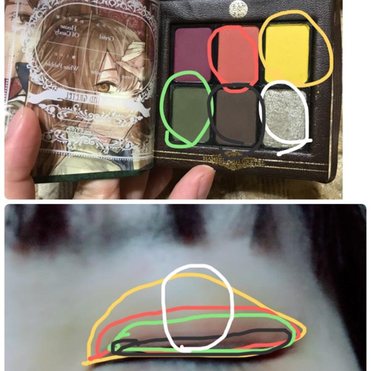 1、黄色をまぶた全体 2、オレンジを二重幅よりちょっと広め 3、茶色をきわ 4、緑を2.3の間をぼかすように 5、シルバーを黒目の上の部分になるところだけ に塗る