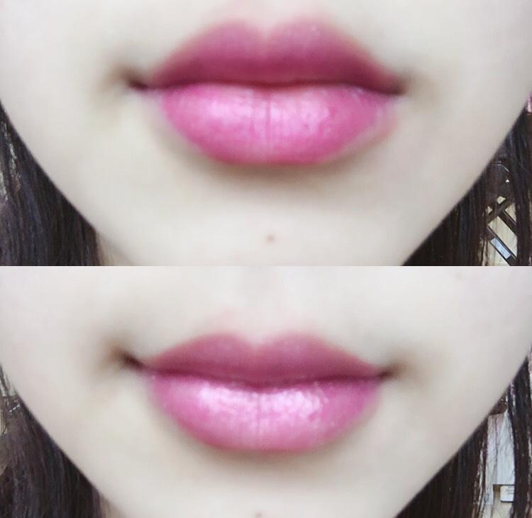 紫リップの上からピンクを重ね塗り