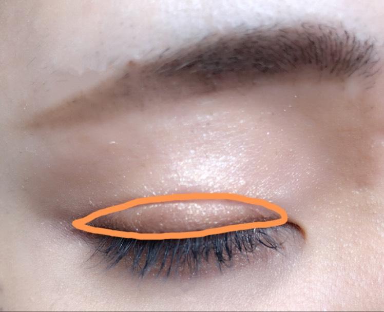 右下のブラウンをチップの細い方で取って二重幅に塗ります。