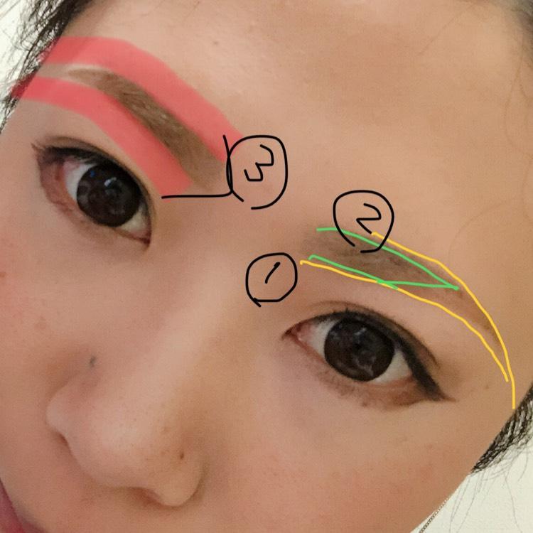 私の苦手なまゆ毛です! 下がり眉なので、半分しかありません(緑が自眉です) ①目と眉の幅を近づけたいのでバランスが分かるように下から書いちゃいます ②黒目辺りから書いた方が自然に仕上がります パウダーと眉マスカラで整えます ③最後にKATE ブラウンシェードアイズの右端のシャドウで周りを囲みます *右は囲んだもの、左が仕上げたものです