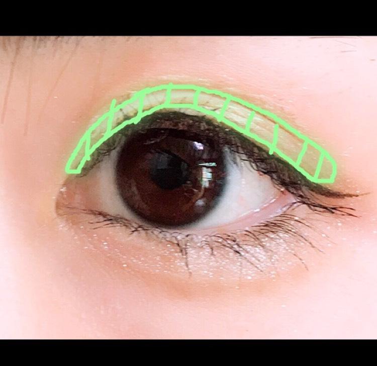 緑の範囲にエクセルのアイシャドウを入れて二重を強調します(できていない)