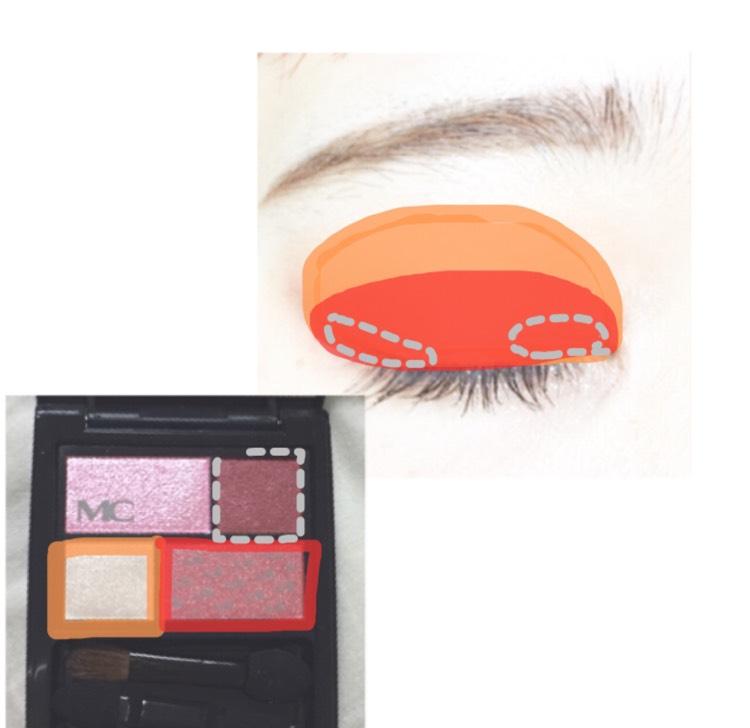 アイホール全体にオレンジの部分を塗り二重幅に赤の部分を塗ります。 目頭側と目尻側に狭くグレーの部分を塗ります