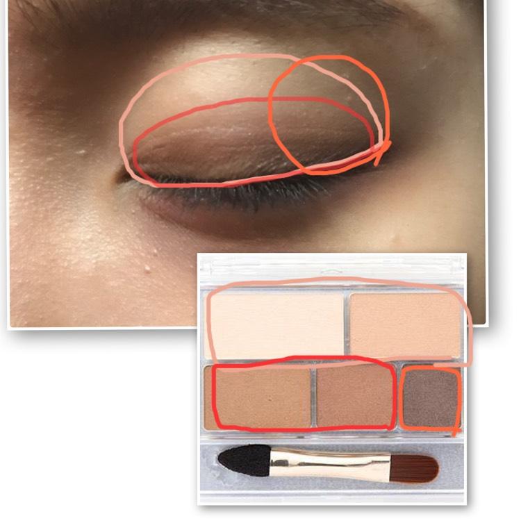 キャンメイクのパーフェクトマルチアイズ01の肌色で囲んだカラーをアイホール全体に塗る。 赤色で囲んだカラーを混ぜて二重幅より少しはみ出すくらいに塗る。 オレンジで囲んだカラーを上目尻1/4程度と下目尻1/3に塗る。 下段真ん中の色を、濃い色と薄い色との境目に塗って馴染ませる。
