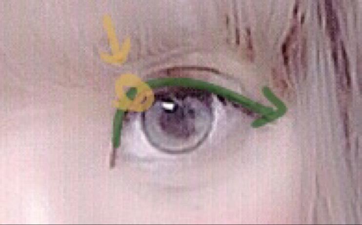 アイラインです。黒目より内側(黄色の部分)が頂点になるように山なりに描きます。 目尻もオーバーめに下げます