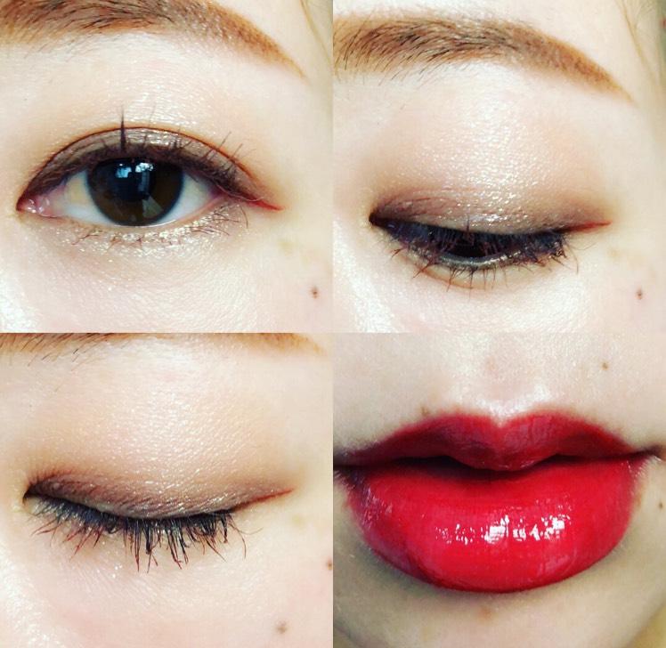 マモンドのパレットの右上をアイホール 右下を二重幅に入れブレンディング 瞼を閉じた瞳の上に左上のキラキラをのせる 下瞼には左下をラインブラシで引き チェリーチークで目尻やりやや長めに引く