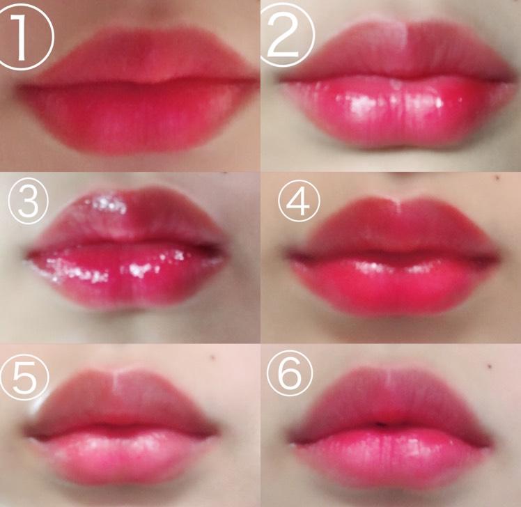 塗り方6種類オレンジリップ