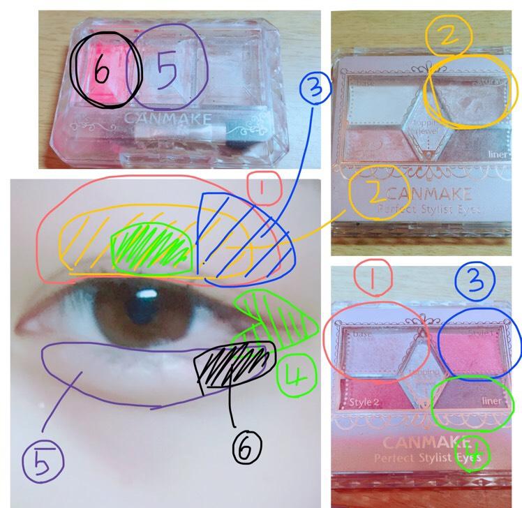 見にくいですが、、 キャンメイクパーフェクトスタイリストアイズ14番(写真右下)の1をまぶた全体に塗り、パーフェクトスタイリストアイズ05番(写真右上)の2を二重幅まで塗ります。14番の3をこめかみ側に塗り、4をまぶた中央、目尻のくの字に塗ります。キャンメイク シークレットカラーアイズ02番(写真左上)の5を涙袋全体に塗り、6を目尻に塗ります。KATEのダブルラインフェイカーで涙袋の影を描き、ゆびでぼかします。K-パレットのリアルラスティングアイライナーのディープブラウンで目の形に沿って、アイラインをかきます。。