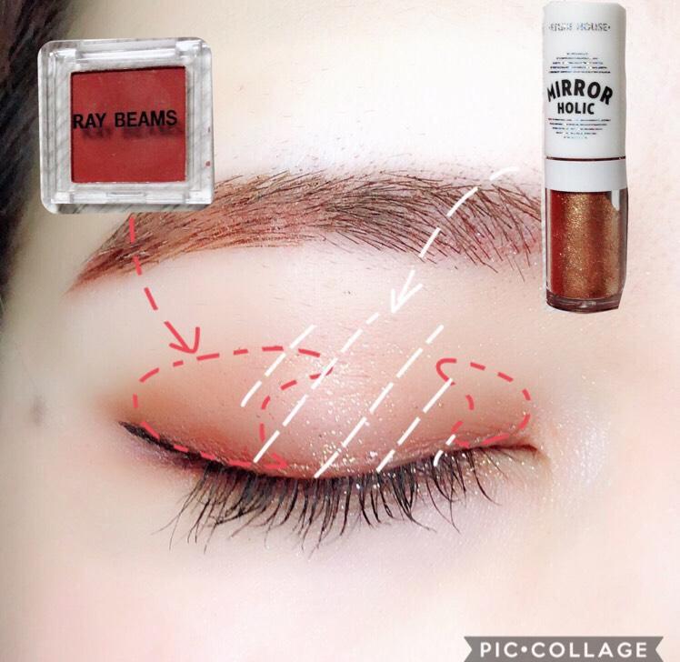 【上まぶた】 Gina付録 シングルカラーパレット(以下①)を、まぶた中央を開けて目尻側と目頭側に塗る。 エチュードハウスミラーホリックアイズ(以下②)を中央に重ねる。