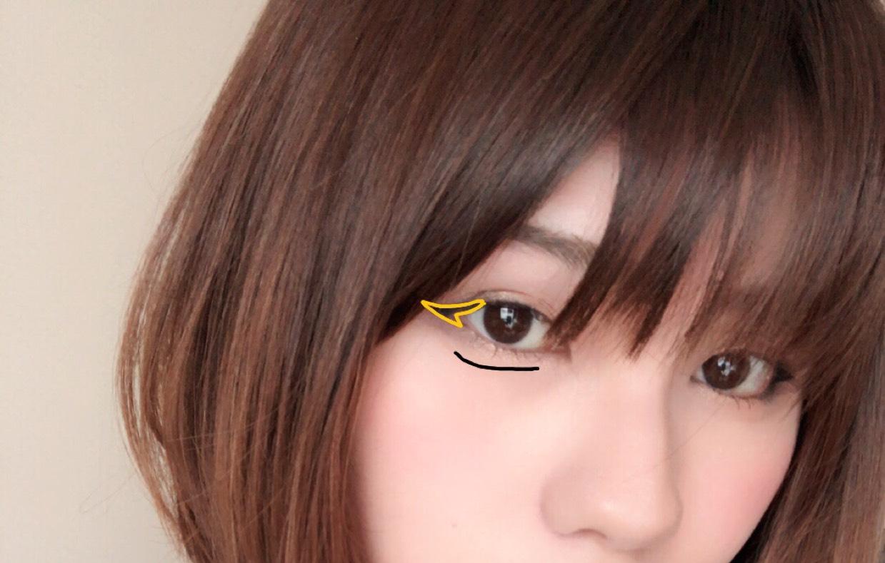 アイラインをまつげの間を埋めるように全体に描き目尻は黄色の部分のように長めにはねあげます。 すこしくの字に描きます。 ケイトのアイブロウパウダーの薄い色2色を混ぜて涙袋を描きます