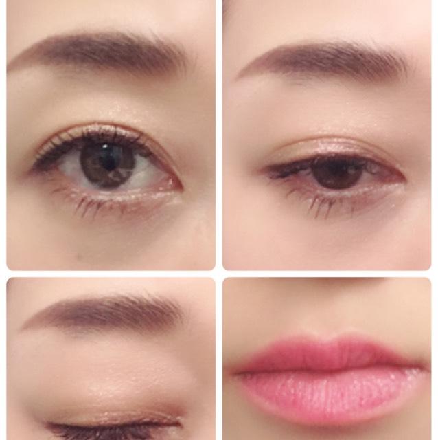 目元はスフィンクス単色グラデになるように塗り、口元は指にとってから色味を見ながらのせる