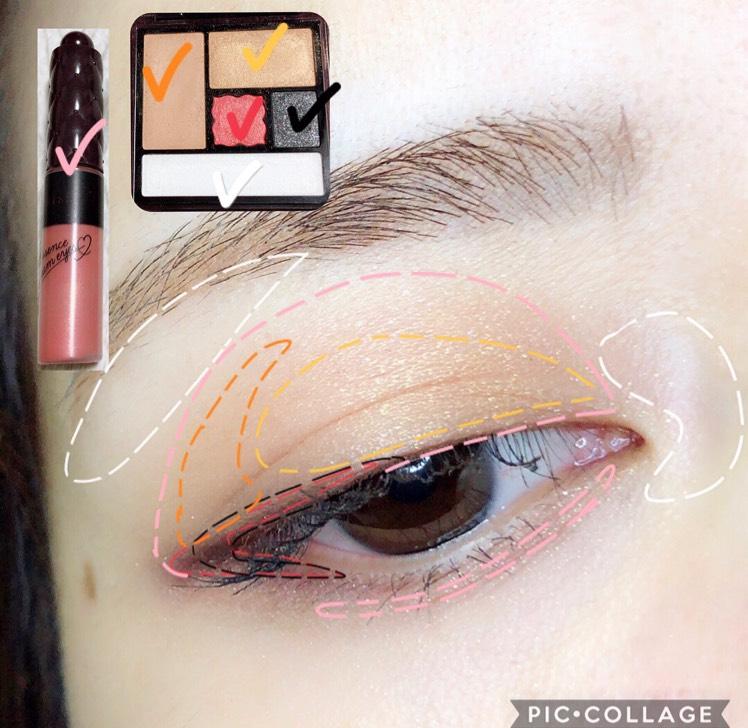 写真のようにシャドウを塗ります。 ①エッセンスクリームシャドウ06  →下地として上下まぶたに。 ②アクセントアイズ 03  →点線のとおりに。締め色はブラックとピンクを混ぜる(ダークパープルのような色になる)
