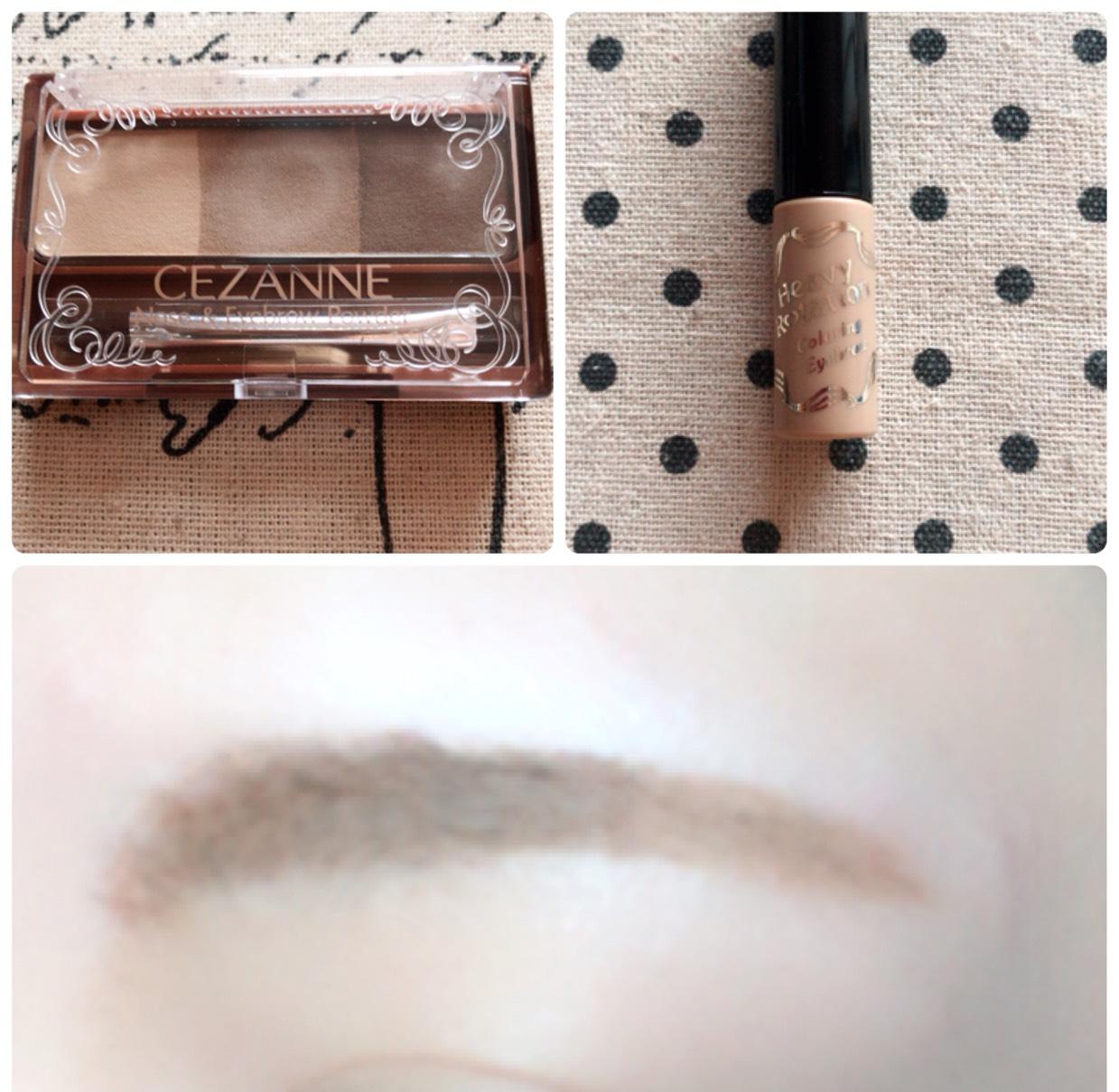 足りないところをパウダーで太眉、下げ気味に書き足し、眉マスカラを塗ります。