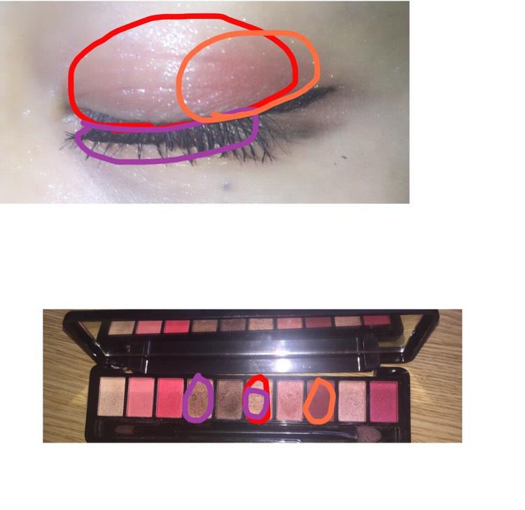 赤はアイホール オレンジは目尻のみにのせる 紫は2色混ぜて涙袋に使用