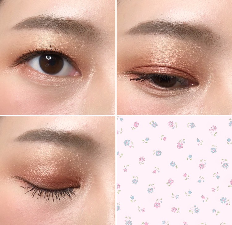 肌なじみのいいベースカラーを仕込んで、眉下にもハイライトを入れることでアイシャドウ全体がまとまります くすみピンクが柔らかく発色しているように見せるコツでもあります
