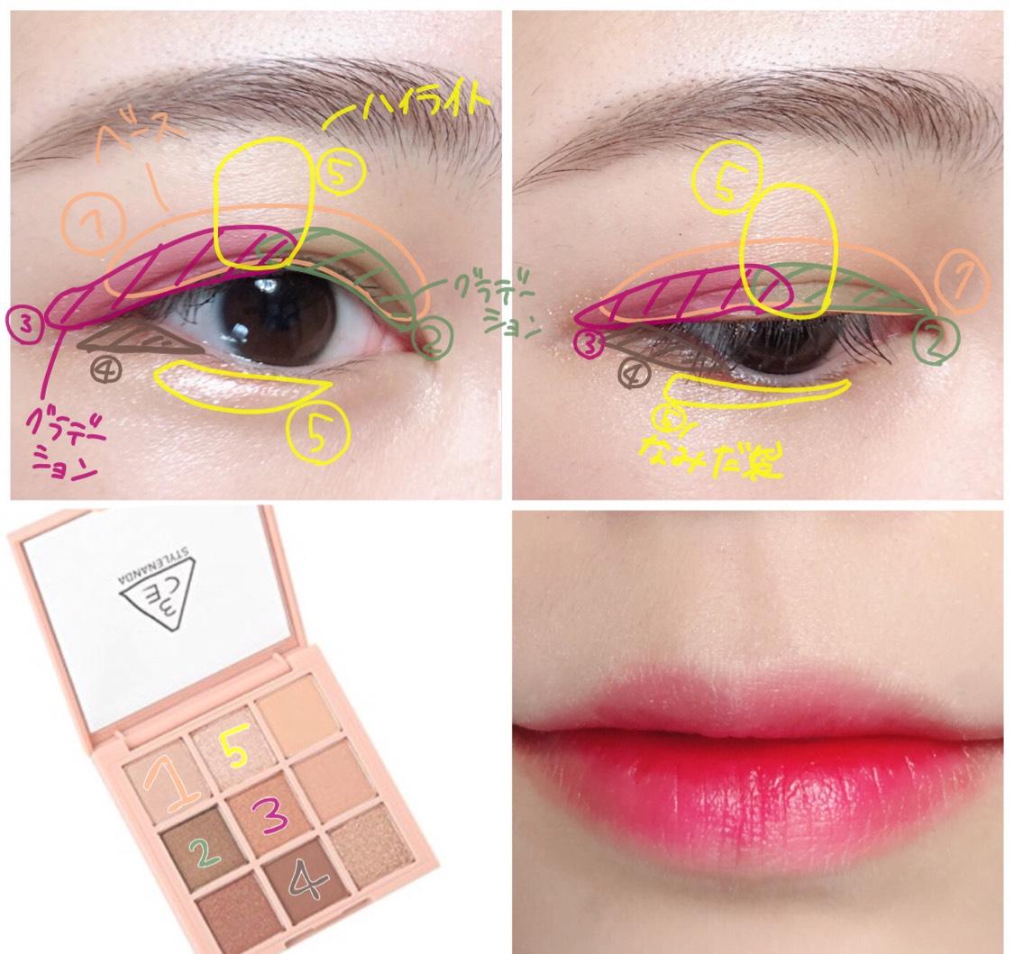 ①ベースの色を瞼全体に。  ②目頭から黒目上までにのせる  ③ ②の色からグラデーションになるように目尻に向かってぼかす  ④目尻2分の1の3角ゾーンにのせる  ⑤ハイライトと涙袋として使う
