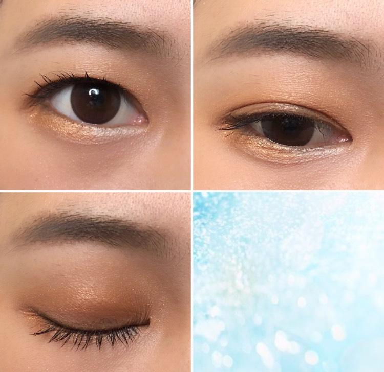 下まぶたの目頭に明るいハイライトカラー、目尻側に発色の良いオレンジを塗ったのがポイントです