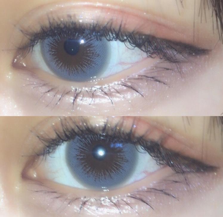 蜜のレンズ さんのレディーガール1グレーというカラーになります。とにかく瞳の馴染みがすごくいい!中の方までグレーの色素があるので遠くから見るともう裸眼がグレーにしか見えない!