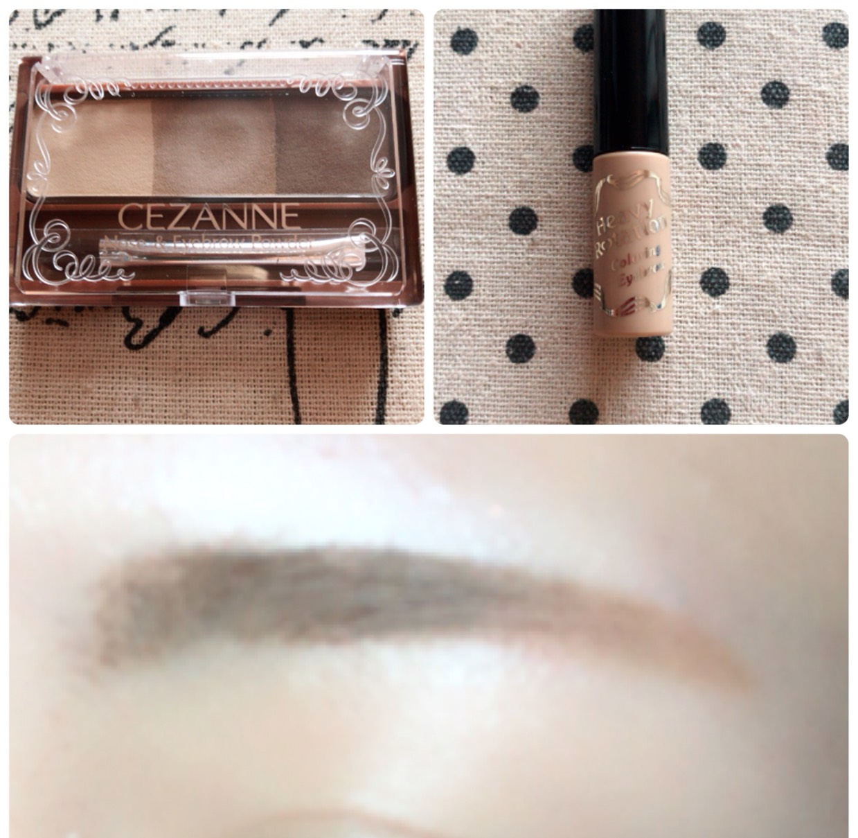足りないところをパウダーで書き足してから眉マスカラを塗ります。