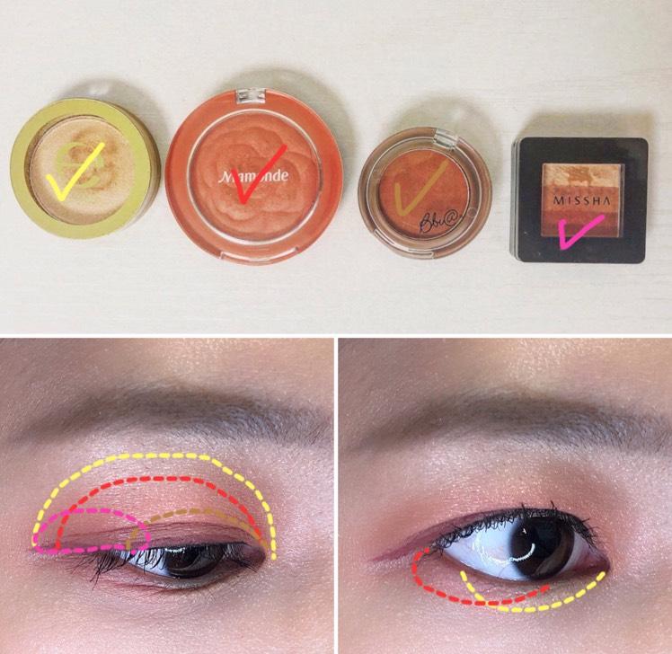 チークをベースカラーとして使いました 目のキワはブラウンと赤シャドウの二つを使うことで、派手すぎないようにしています