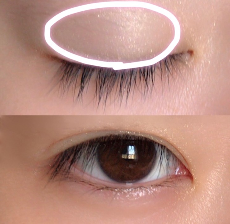1.Viseeのシャドウの右上を指先に少し取り、瞼全体に広げます