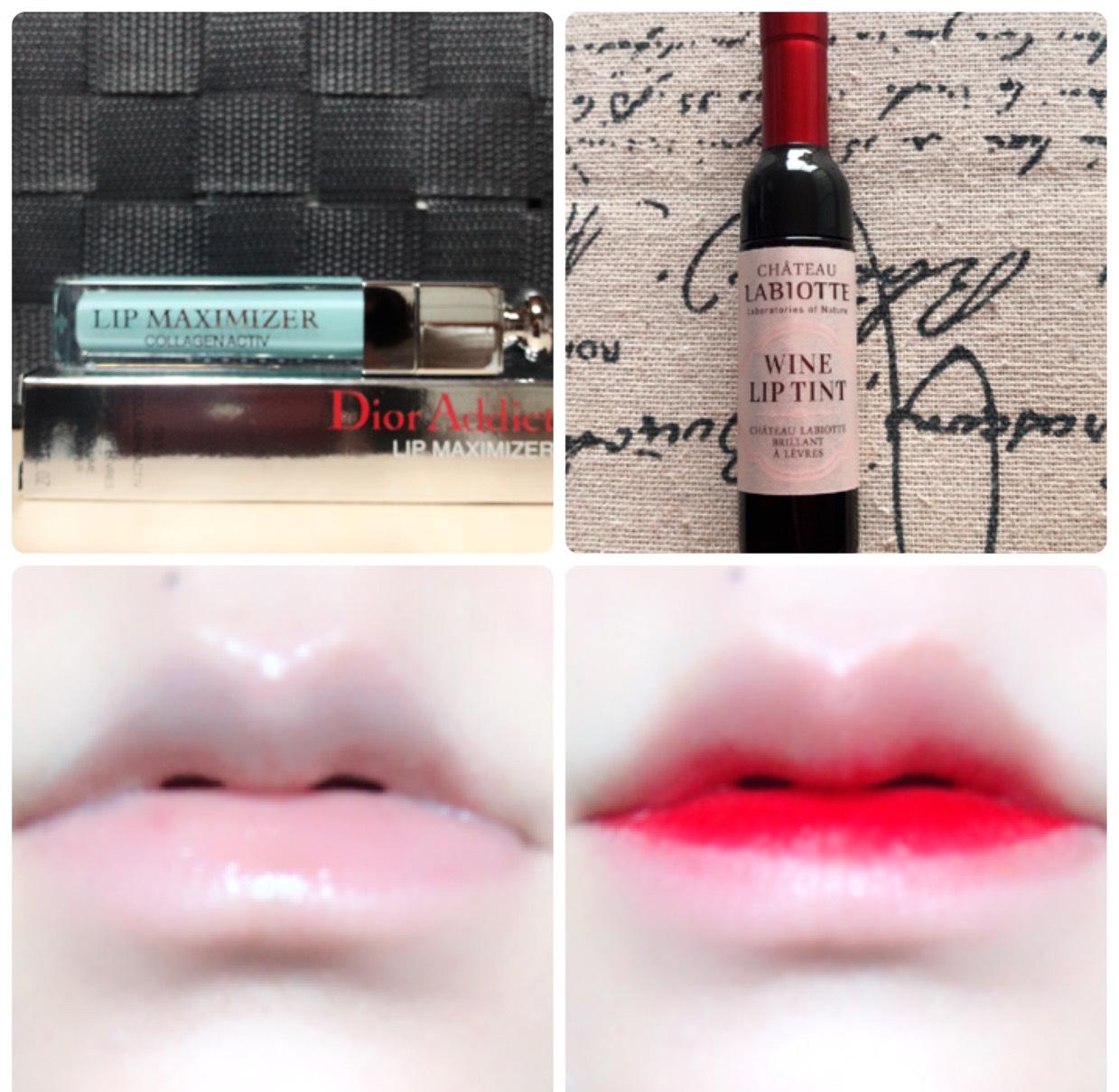 Diorのリップマキシマイザーを塗ってからラビオッテのワインリップティント(RD01)を内側に塗り、馴染ませます。