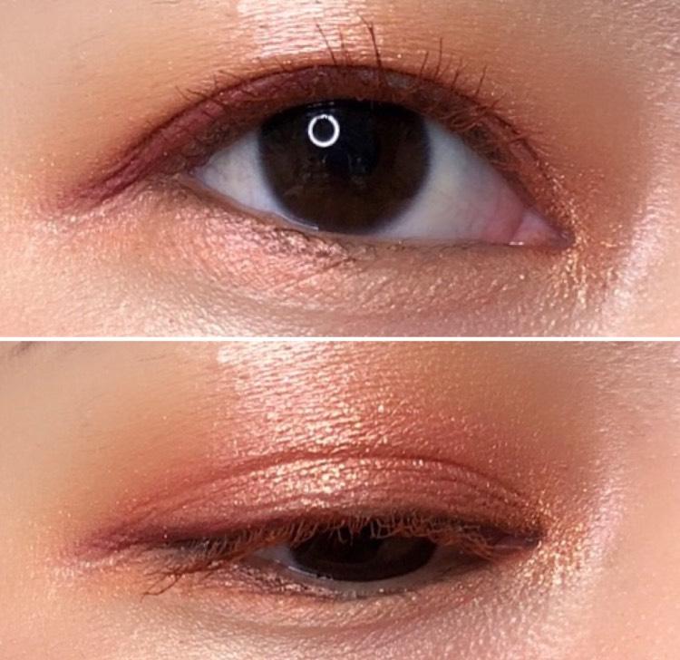 下まぶたにもアイシャドウをレイヤードしているので、印象的な目元になります 目頭にラメシャドウを入れると、顔全体が明るく華やかになるのでオススメです