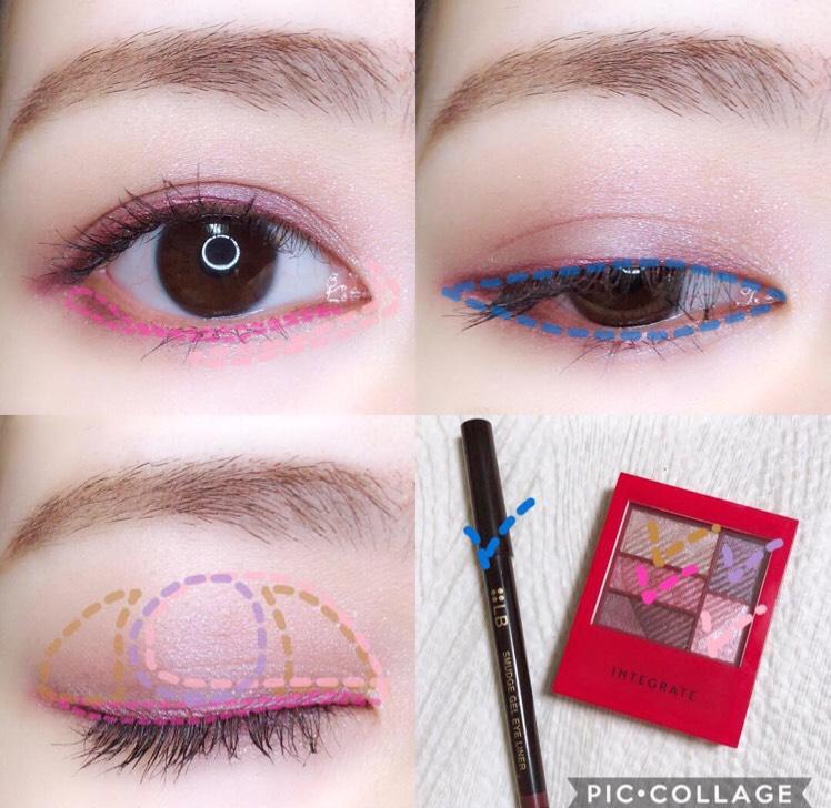 @integrate_jp #トリプルレシピアイズ  前回の塗り方とは変えてみました! . パープルをまぶた中央に丸くいれたら、左右をベージュでボカす。 バーガンディのアイライナーで囲み目して、濃いピンクシャドウでラインをボカす。 ダークな目元になるので、ラメを足して少し華やかに(^.^)