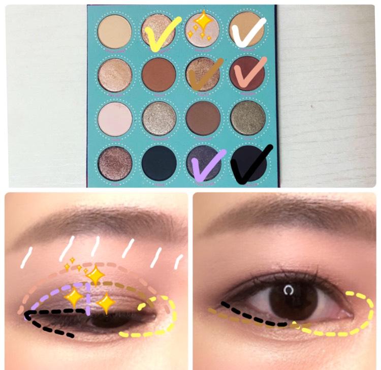 眉下に明るいシャドウを塗り、モーヴカラーが映えるようにします 黒目の上に明るいシャドウをしっかりと発色させながら塗ることで、目に立体感が出ます 目頭にはラメシャドウを加えて、暗くなりすぎないようにしました