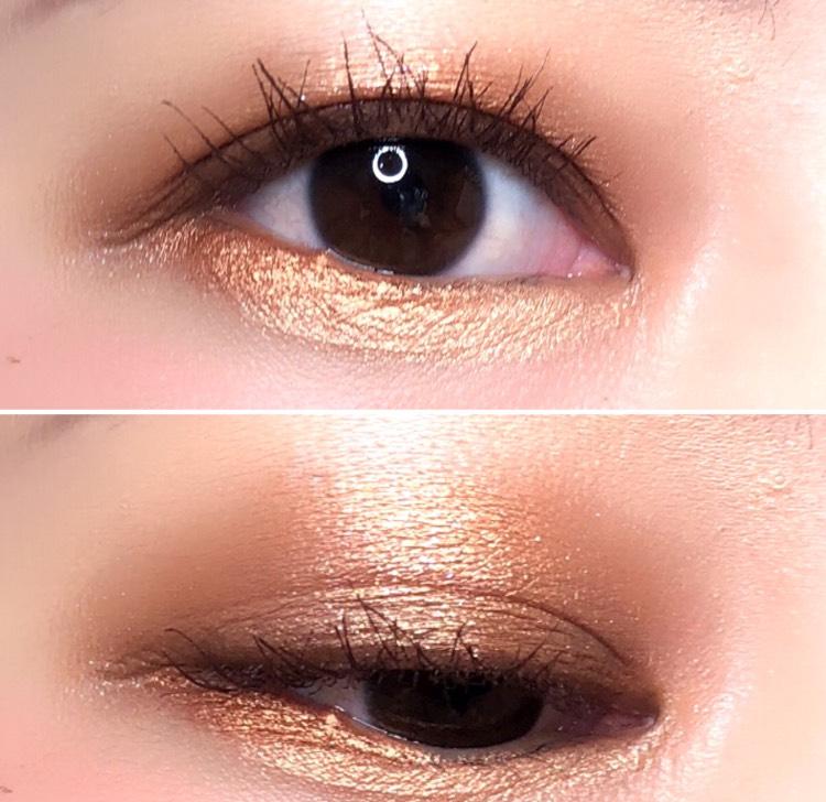 ゴールドブラウンの目元はいろんなリップとチークに合います カラーポップは発色がいいので、ティッシュオフしながら使うのが大切です