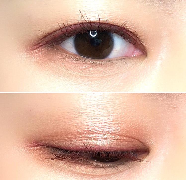 アイラインはラブライナーのコーラルブラウンです 奥二重の狭い二重幅でもカラーを楽しめるので、カラーアイライナーはおすすめです とくにこのカラーは目元をきちんと主張するのにキツくならず、色も可愛いので気に入っています