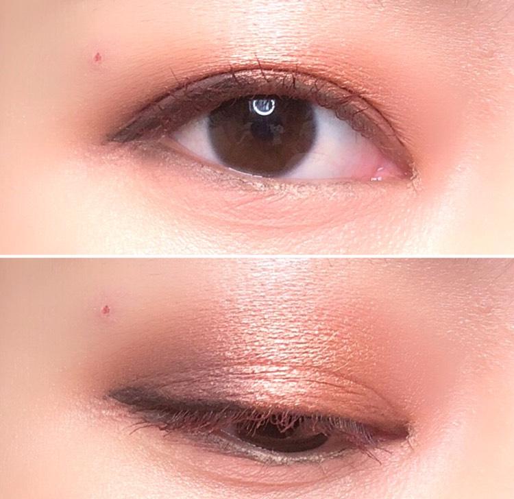 全体的に膨張しやすいカラーを使っていますが、目尻をしっかりと暗い色で締めているので、ぼやけた印象にはなりません
