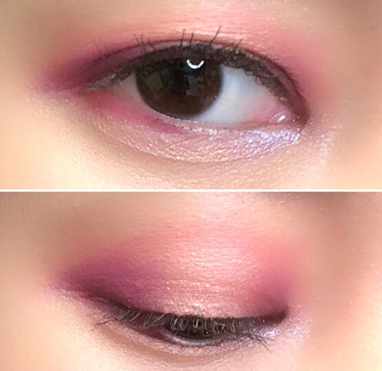 うまく撮影できていませんが、黒目の上だけパァッと光るような仕上がりです 目頭の偏光パールが角度によってピンクっぽくなって可愛いです