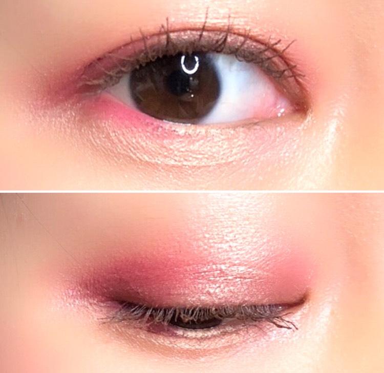 派手なアイメイクに見えますが、ピンクを塗っている面積は少ないので、ピンクの目の人、という風にはならないと思います 加減をしつつ、ピンク過ぎないように気をつけました