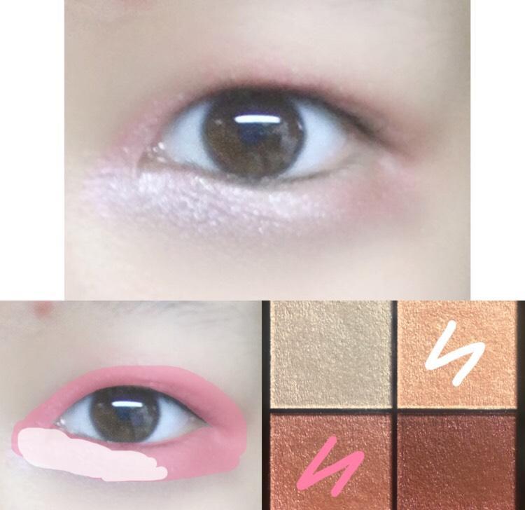 3.白のカラーを涙袋の目頭側に塗ります