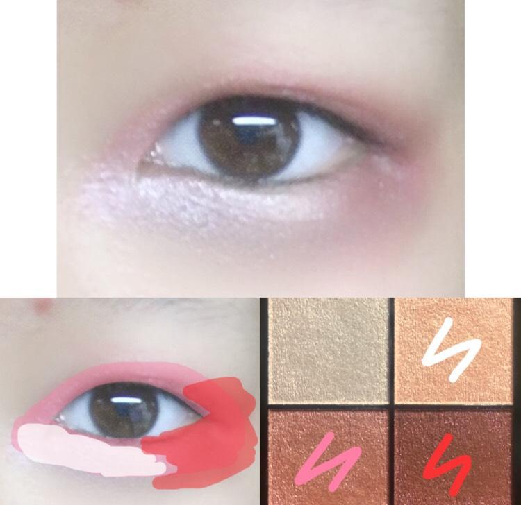 4.赤のカラーを目尻の上下に塗ります