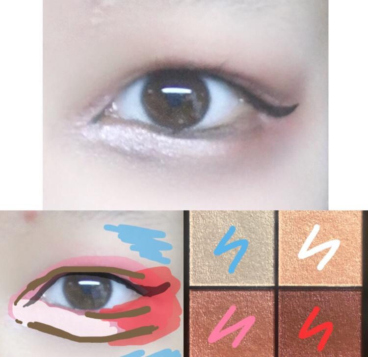 6.水色のカラーを瞼の上と目の下にハイライター代わりにぬりました