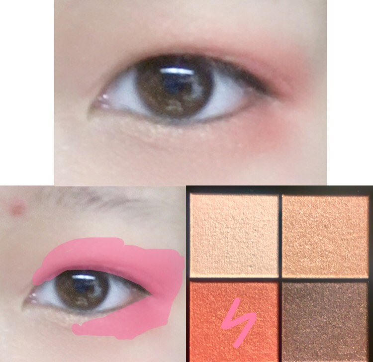 2.アイシャドウのピンクのカラーを上まぶた全体的と下まぶたの2分の1くらいにぬります
