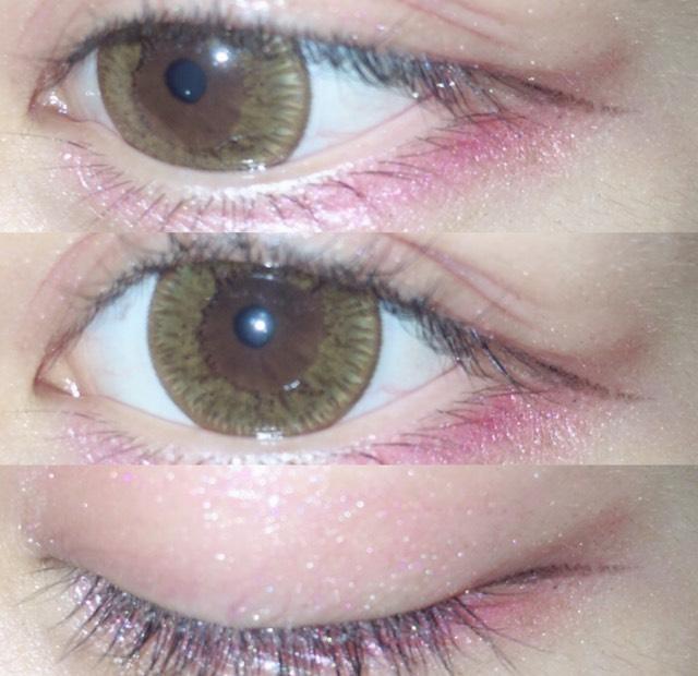 アイラインはブラックで細く自分の目の流れに沿って書きます。 マスカラはブラウンで薄めにのせます。
