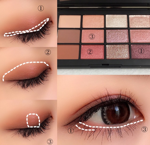 濃い①から使用 ①を上瞼の二重幅、下瞼の目尻側に ②を二重幅より広くぼかし ③を上瞼の中央と下瞼に