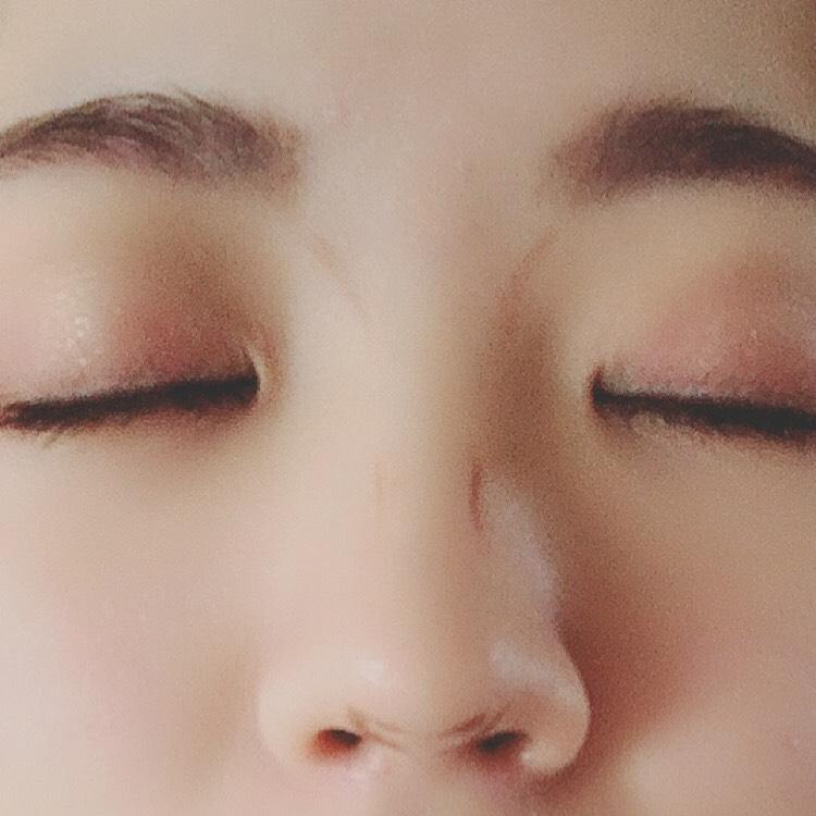 鼻にケイトのアイライナー (ペンシルの方)で鼻の影が欲しいところに薄く線を描きます。  それを筆でぼかしていきます。  光が欲しいところにハイライトを塗ります。